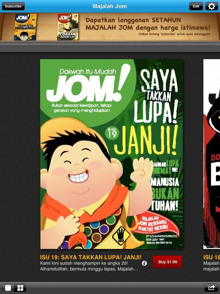 Majalah Jom mencipta sejarah sebagai majalah Islam pertama memiliki versi digital.